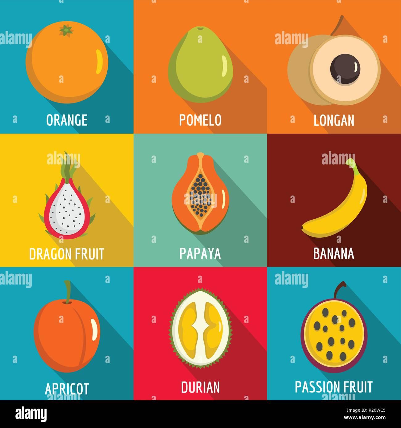 fruit blast icons set flat set of 9 fruit blast vector icons for web isolated on white background stock vector image art alamy alamy