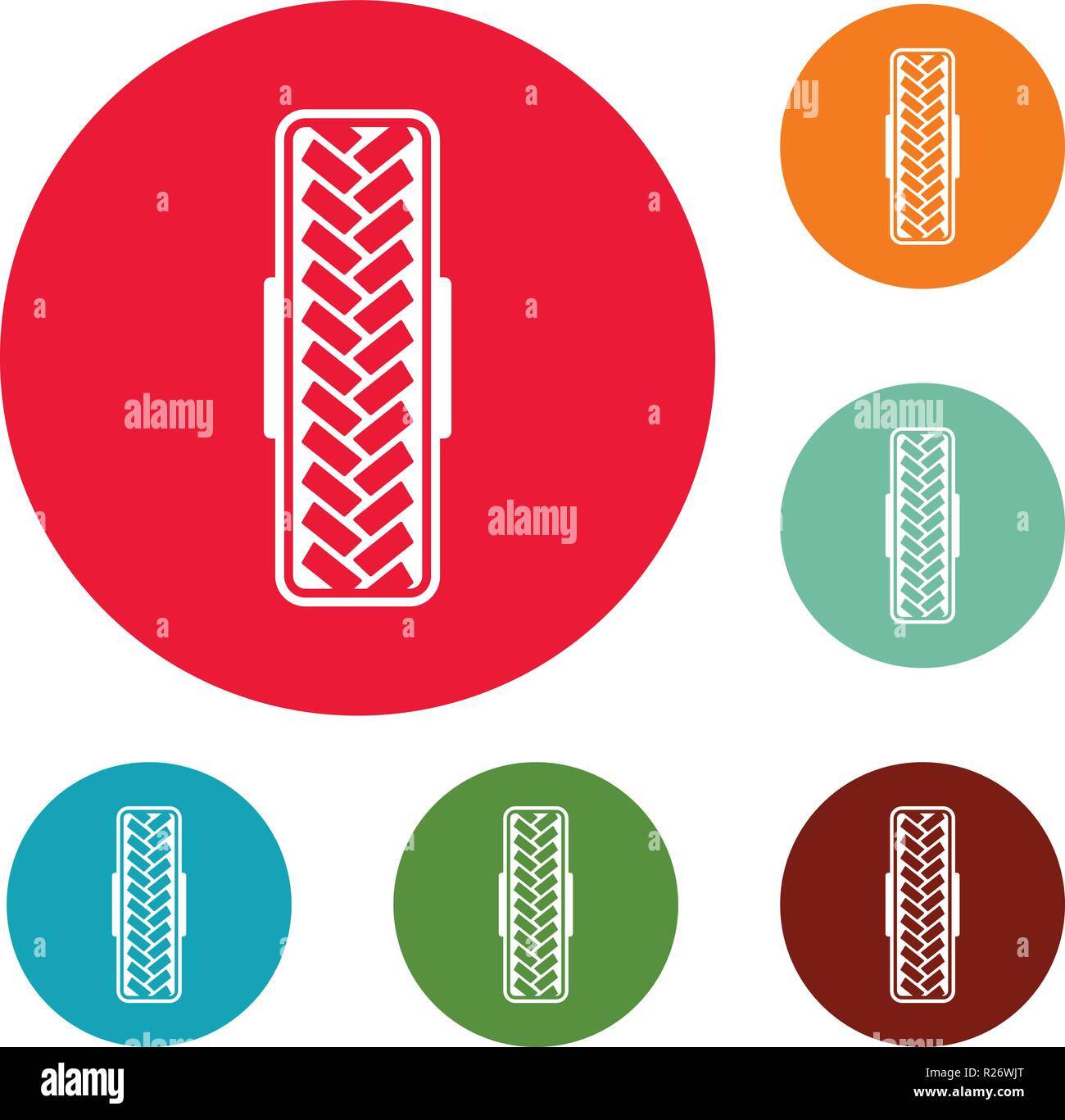 Tread pattern icons circle set vector isolated on white background - Stock Vector