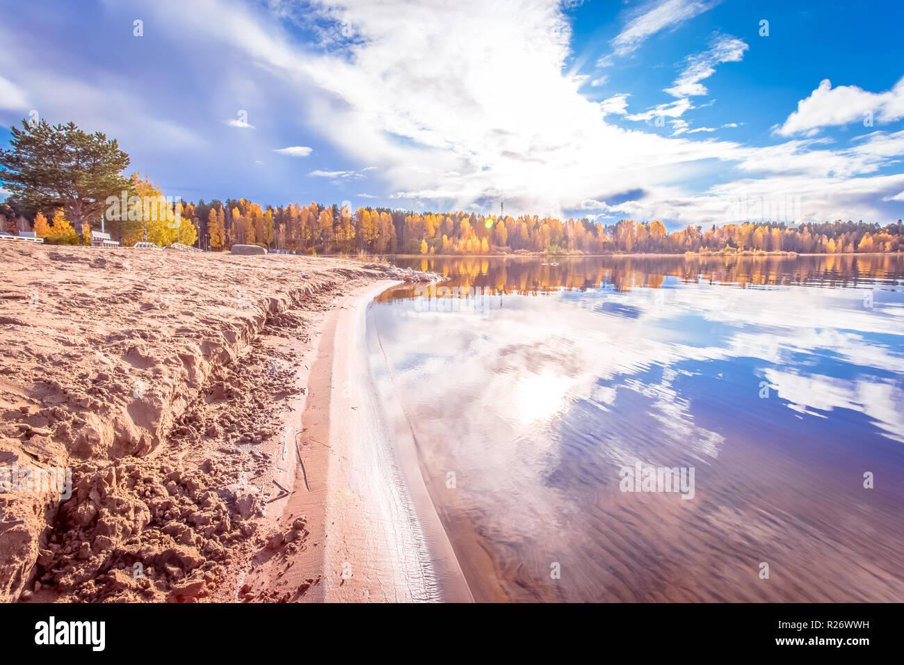 Autumn Lake view from Kajaani, Finland. - Stock Image
