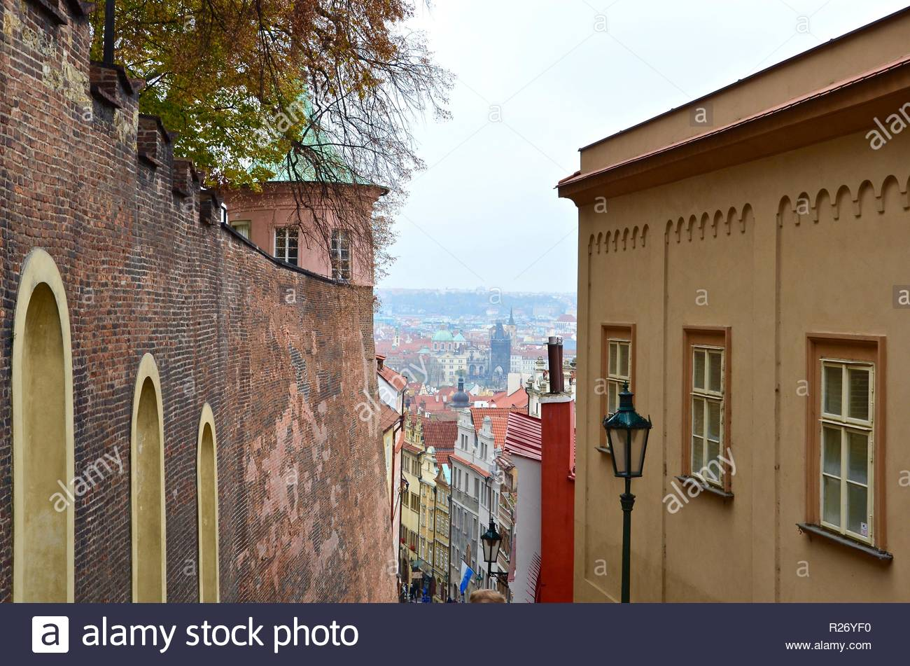Stairways from the Castle towards Prague city, winter - Stock Image