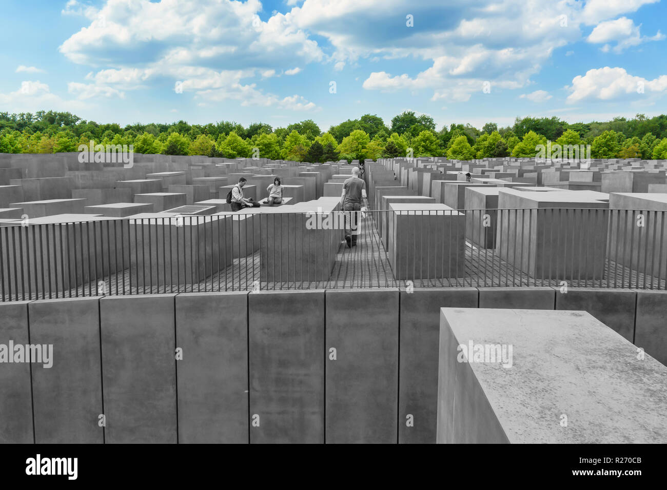 "Berlin, Germany, May 25, 2015: monument to victims of the Holocaust. The idea belongs to the Berlin publicist Lea Rosh, who organized the 1989 Fund ""M Stock Photo"