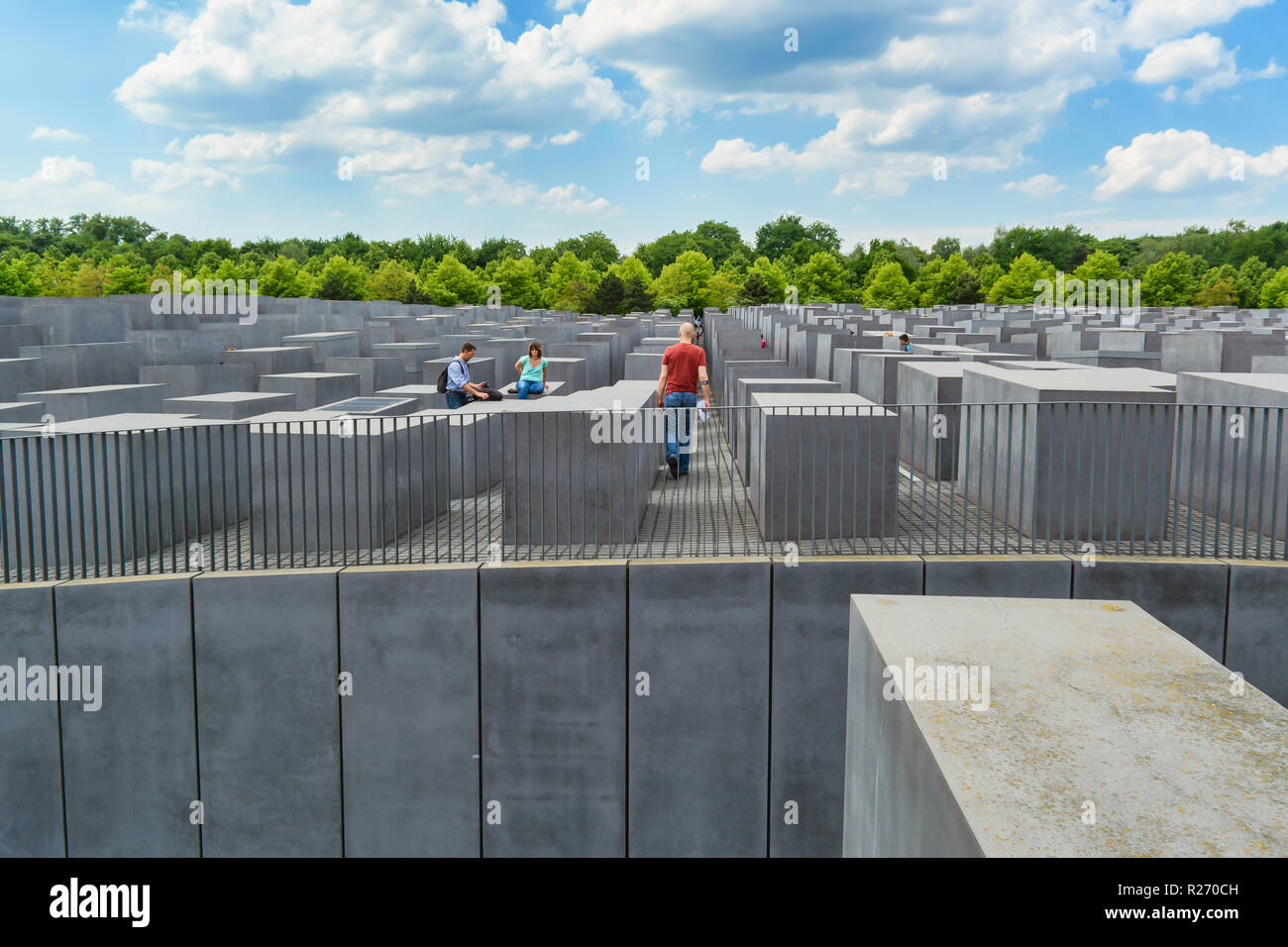 Berlin, Germany, May 25, 2015: monument to victims of the Holocaust. The idea belongs to the Berlin publicist Lea Rosh, who organized the 1989 Fund 'M - Stock Image