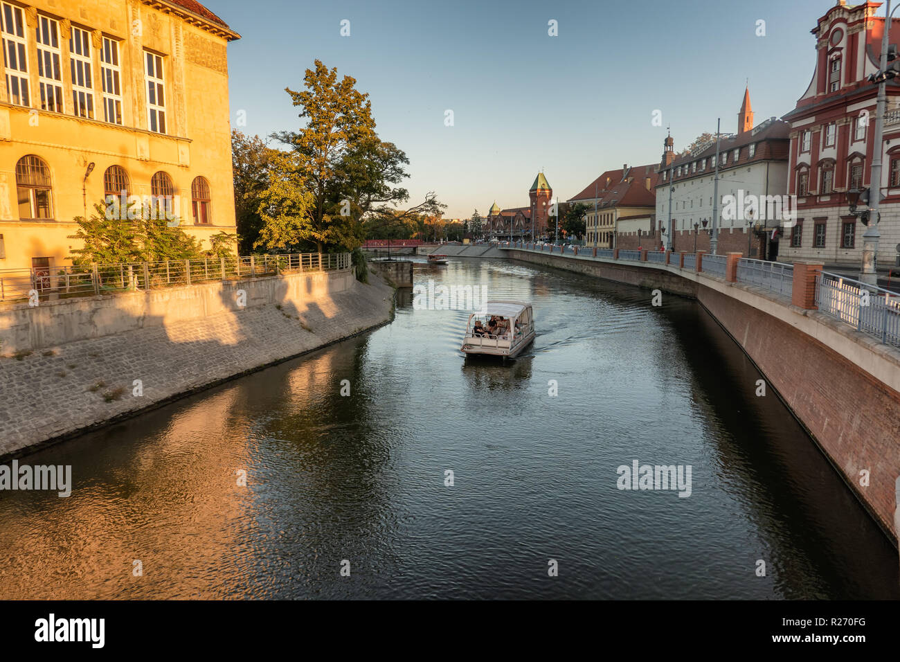 Tour boat on river Odra in Wroclaw, Poland Stock Photo