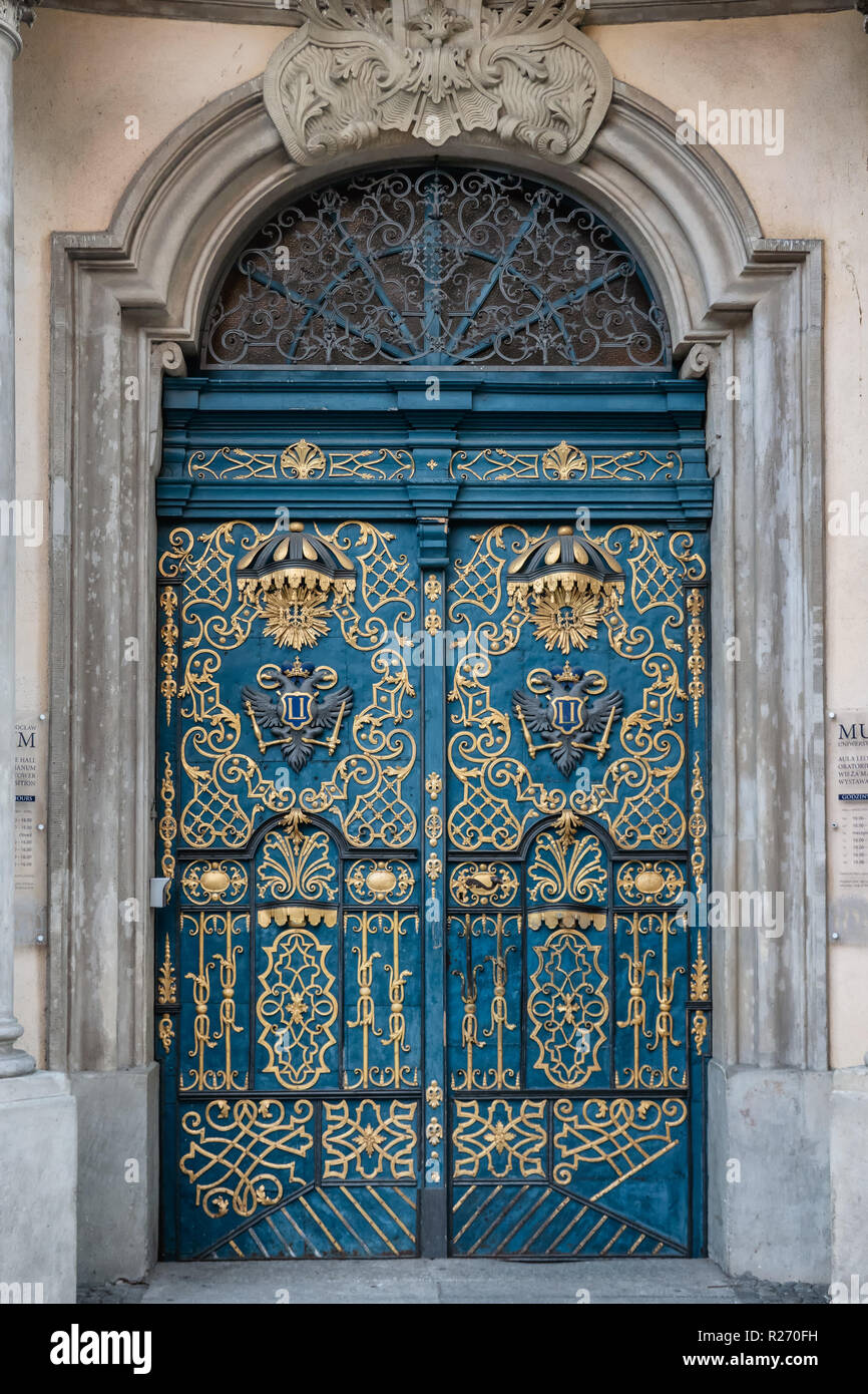 Ornamented door on the old university in Wroclaw, Poland Stock Photo