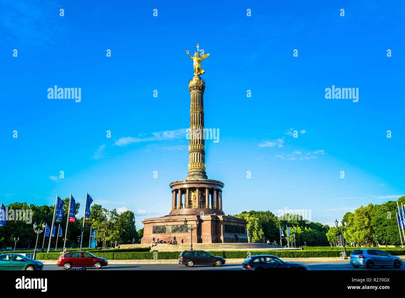 Berlin, Germany, May 25, 2015: Victory Column in Berlin. Author of the project, architect Johann Heinrich Strack. The monument is located in the cente Stock Photo