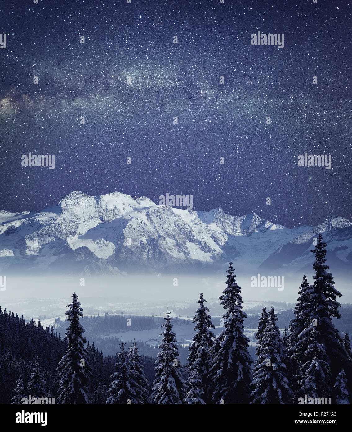 Night mountain winter landscape. Deep night sky with galaxy milky way high resolution panorama. - Stock Image