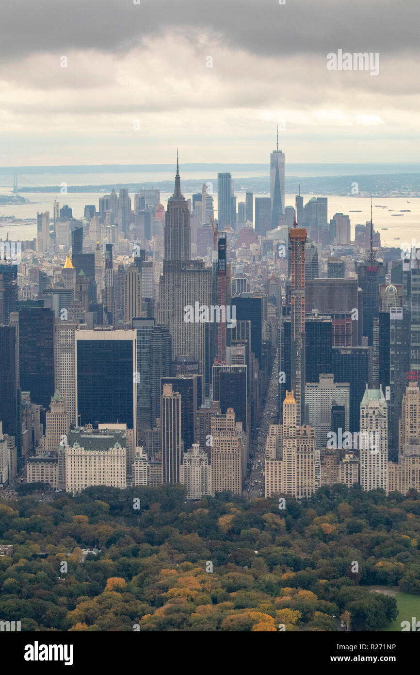 Helicopter Aerial View Of Midtown Manhattan From Central Park New York City Usa Stock Photo Alamy