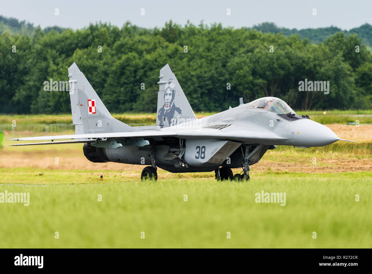 A Mikoyan MiG-29 Fulcrum multirole fighter jet of the Polish Air Force. Stock Photo