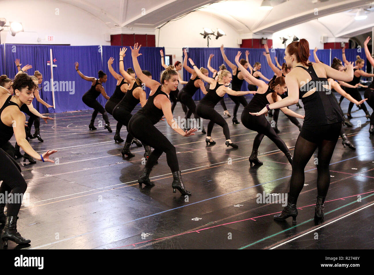 NEW YORK, NY - MAY 04:  The Radio City Rockettes Rehearse For New York Spectacular at St. Paul The Apostle Church on May 4, 2016 in New York City.  (Photo by Steve Mack/S.D. Mack Pictures) Stock Photo