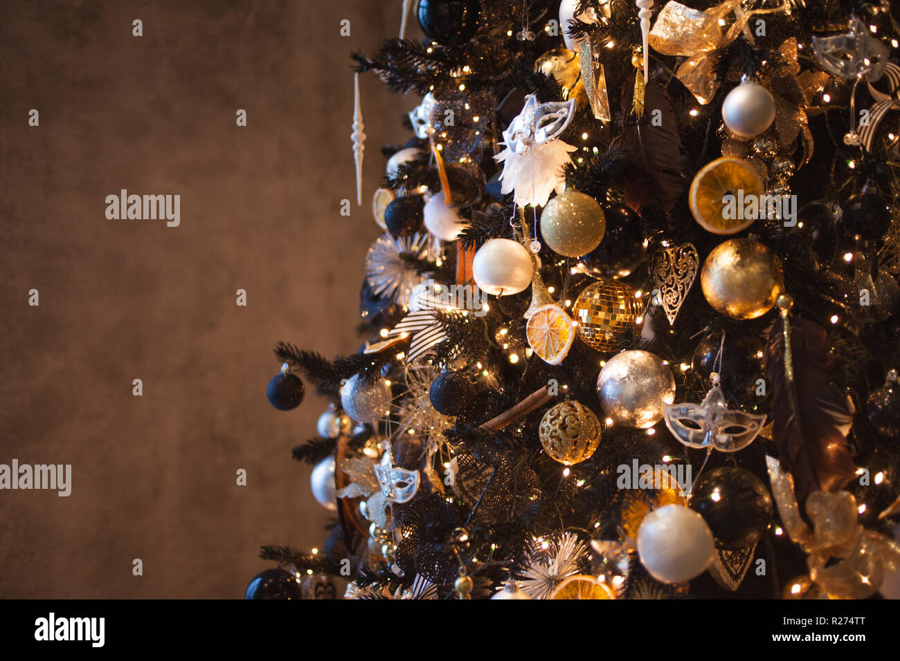 Christmas Background Stylish Christmas Tree The Black And Gold