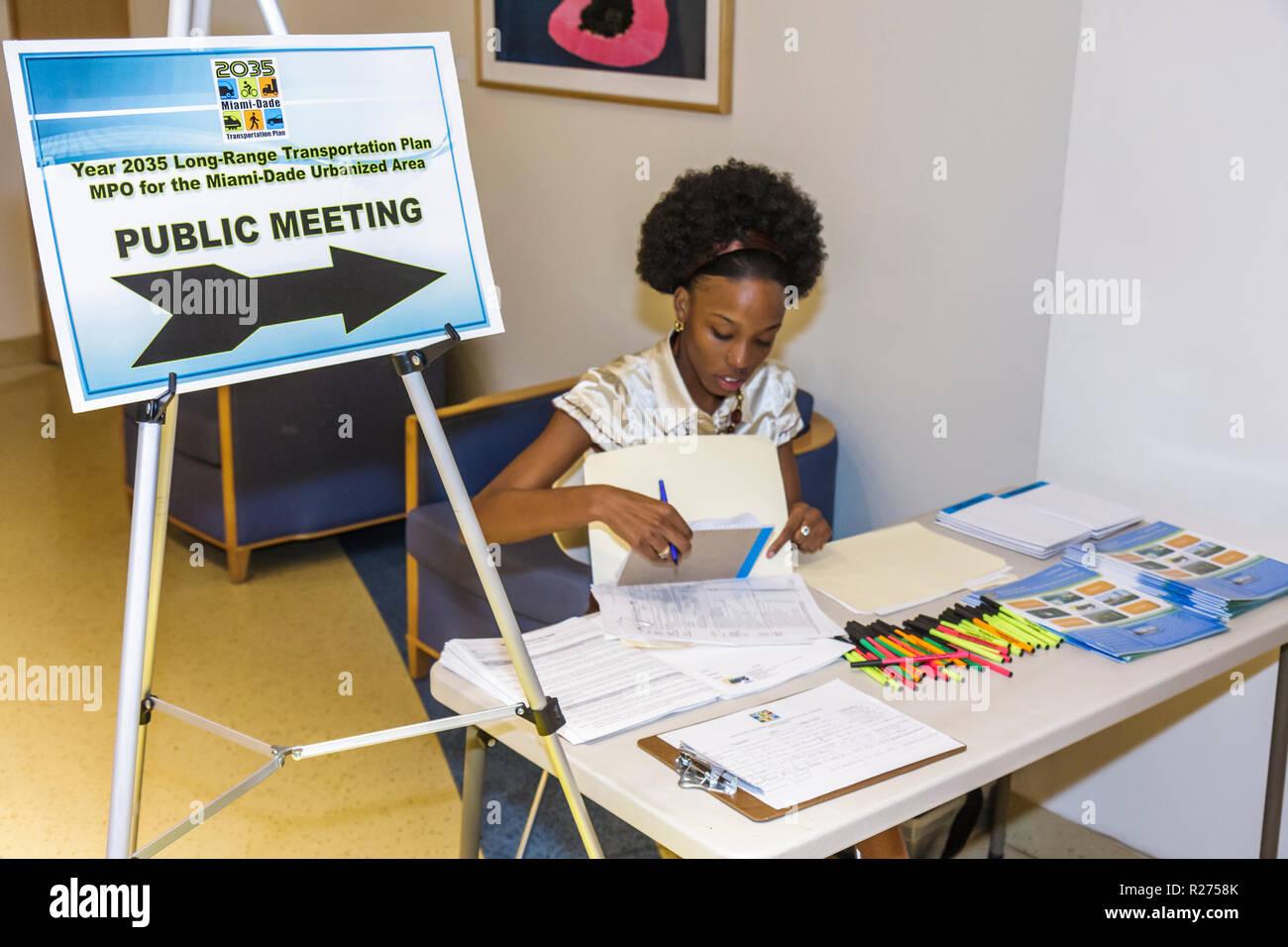 Miami Beach Miami Florida Beach Regional Library Long Range Transportation Plan public meeting survey decision opinion input pol - Stock Image