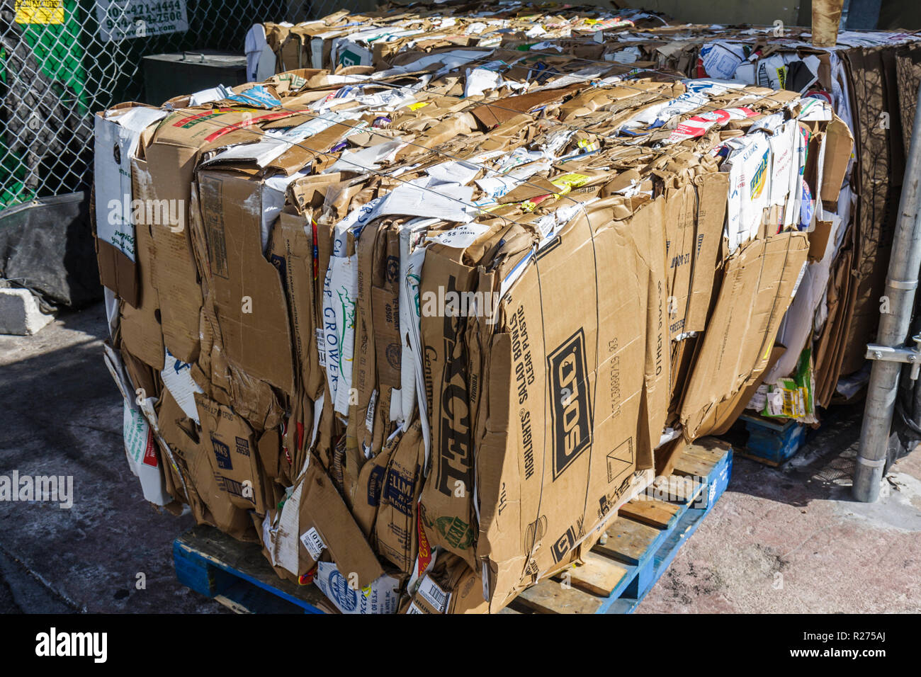 Miami Beach Florida cardboard boxes stack compressed flat pallet recycle recycling conservation green movement reuse ecology - Stock Image