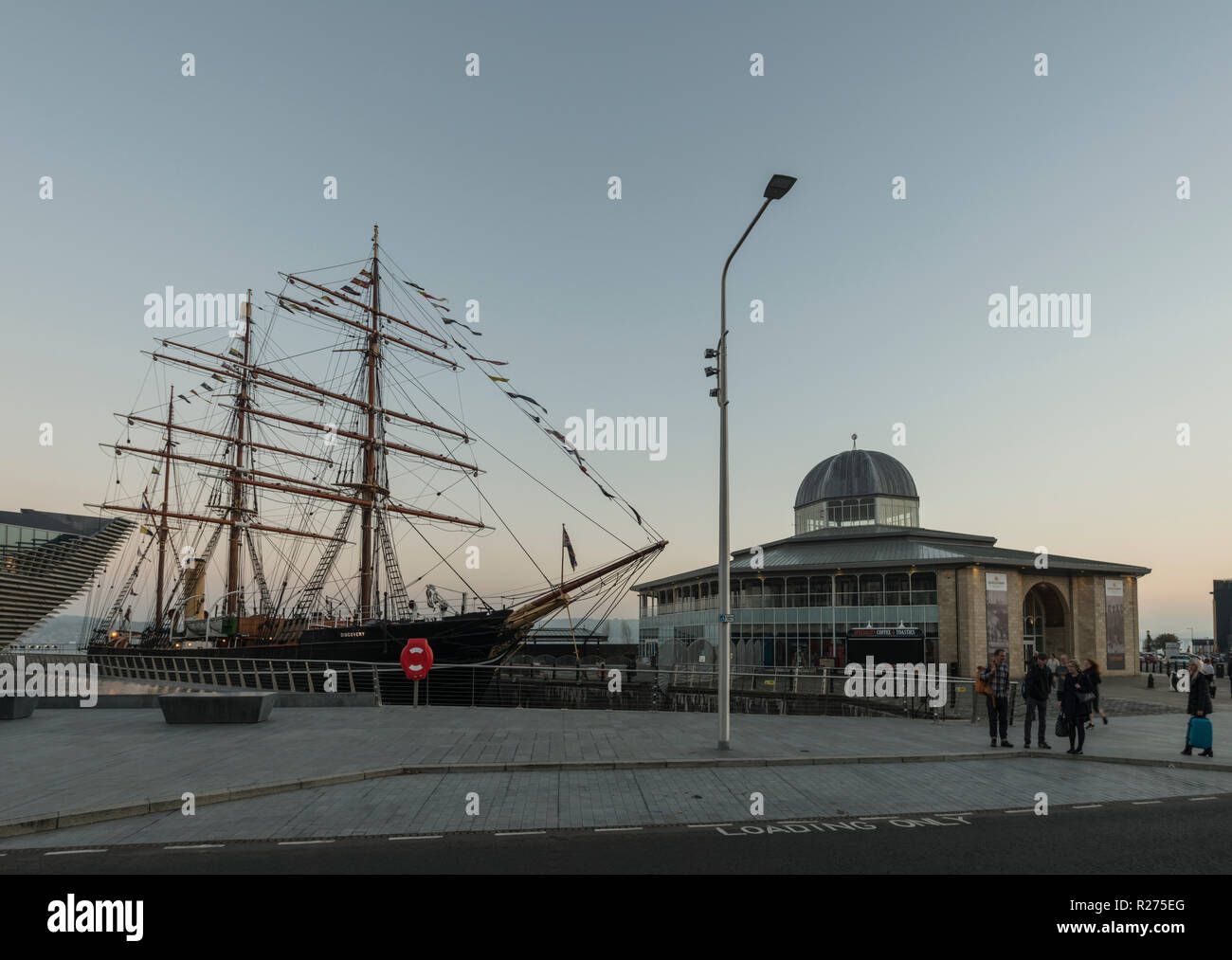RRS Discovery, the last wooden ship built in Britain,is docked beside the V&A design museum as part of the waterfront regeneration scheme in Dundee,UK Stock Photo