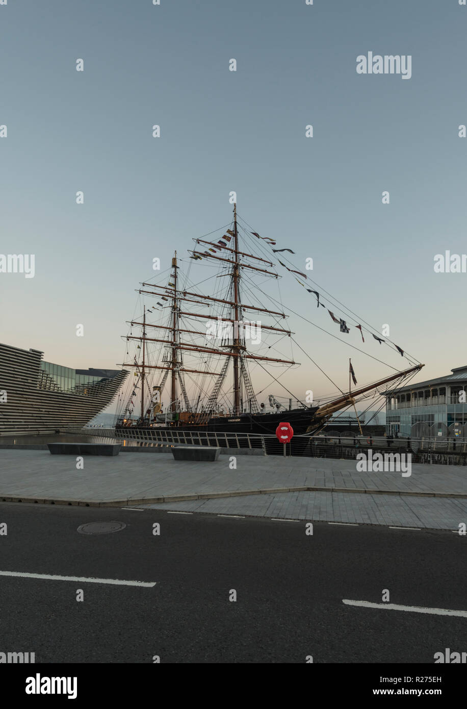RRS Discovery, the last wooden ship built in Britain,is docked beside the V&A design museum as part of the waterfront regeneration scheme in Dundee,UK - Stock Image