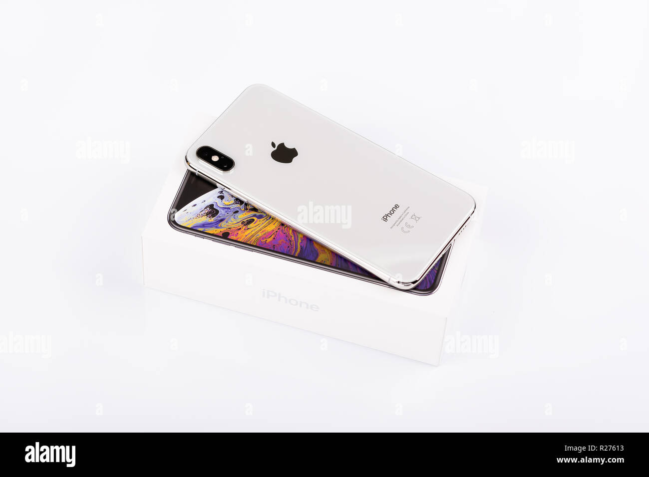 BURGAS, BULGARIA - NOVEMBER 8, 2018: Apple iPhone Xs Max Silver on white background, back view. Stock Photo