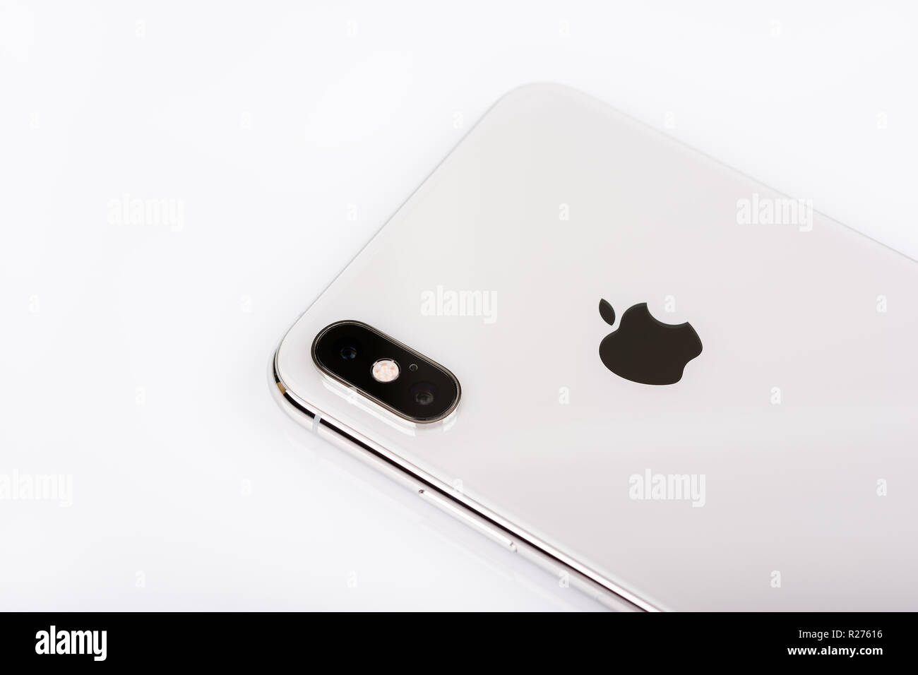 BURGAS, BULGARIA - NOVEMBER 8, 2018: Apple iPhone Xs Max Silver on white background, back view. - Stock Image