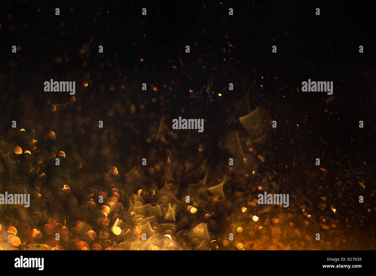 fire sparkles glowing in the darkness Stock Photo