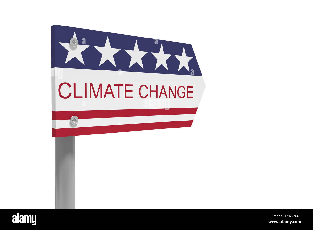 USA Politics Environmental Protection Concept: Climate Change Direction Sign With US Flag, 3d illustration isolated on white background - Stock Image
