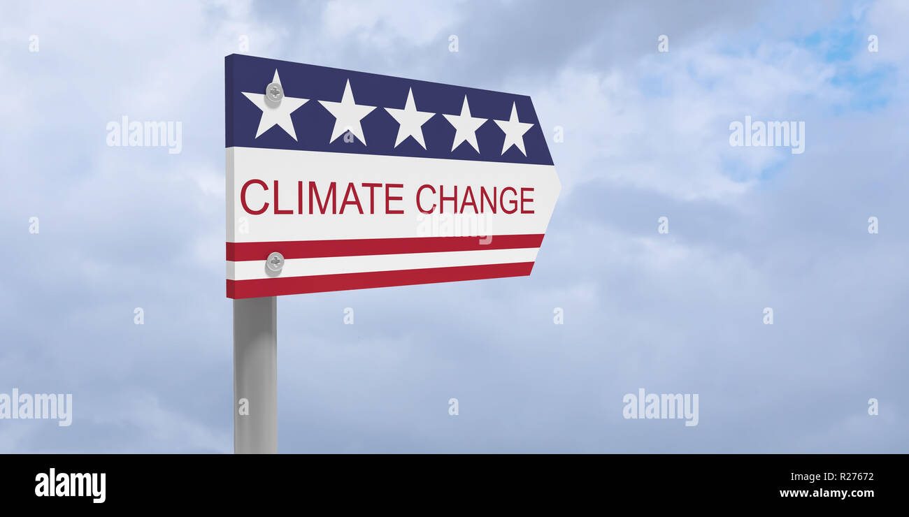 USA Politics Environmental Protection Concept: Climate Change Direction Sign With US Flag, 3d illustration against cloudy sky - Stock Image