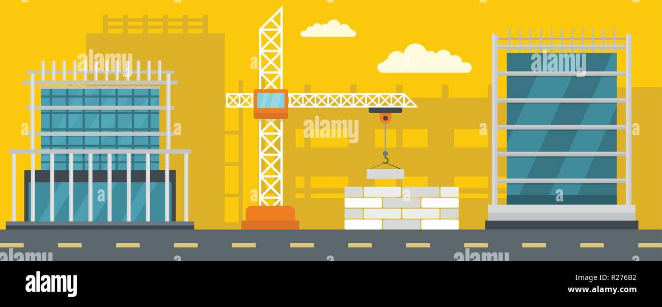 Construction banner horizontal. Flat illustration of construction vector banner for web Stock Vector