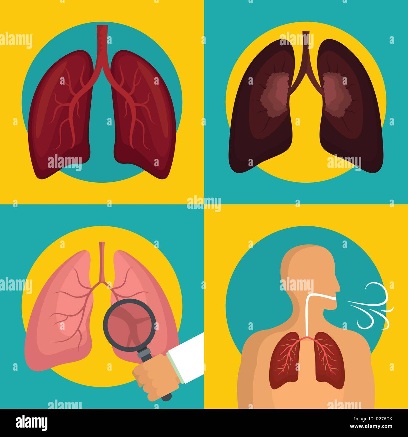 Lung organ human breathing icons set. Flat illustration of 4 lung organ human breathing vector icons for web - Stock Vector