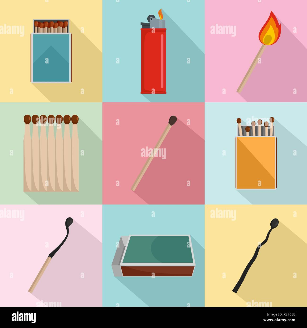Safety match ignite burn icons set. Flat illustration of 9 safety match ignite burn vector icons for web - Stock Image