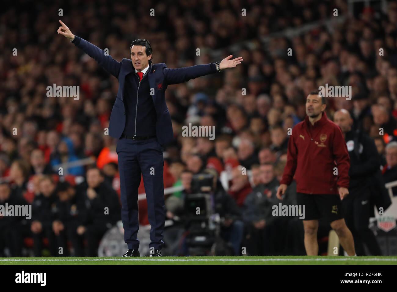 Manager of Arsenal, Unai Emery - Arsenal v Wolverhampton Wanderers, Premier League, Emirates Stadium, London (Holloway) - 11th November 2018 - Stock Image