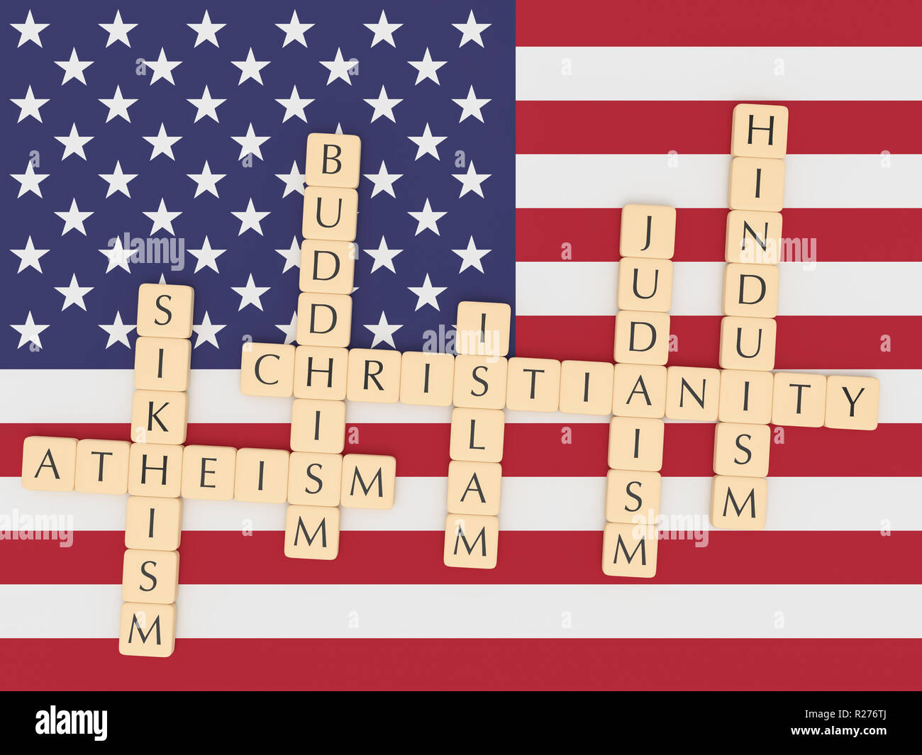 Religion Diversity In The USA Concept: Letter Tiles Creating The Words Christianity, Islam, Judaism, Buddhism, Hinduism, Sikhism, Atheism with US flag, 3d illustration - Stock Image