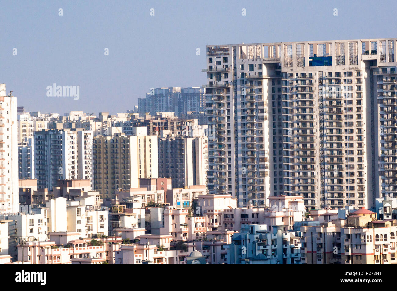 Aerial shot of skyscrapers houses offices in noida delhi gurgaon - Stock Image