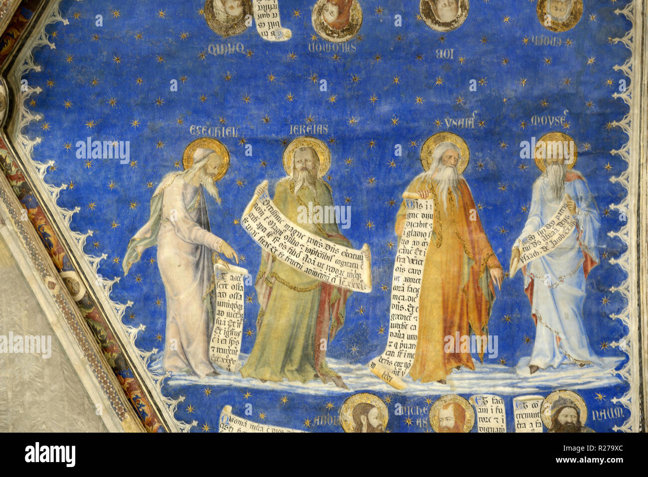 Prophets Ezekiel, Jeremiah & Moses from Prophets Fresco, Mural or Wall Painting (1353) by Matteo Giovannetti Salle de Justice Popes Palace Avignon - Stock Image
