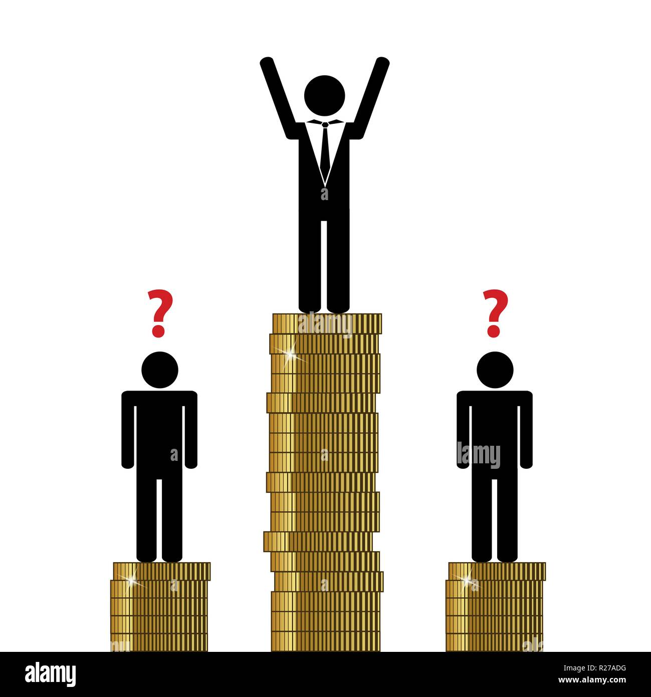 gap between rich and poor finance pictogram vector illustration EPS10 - Stock Image
