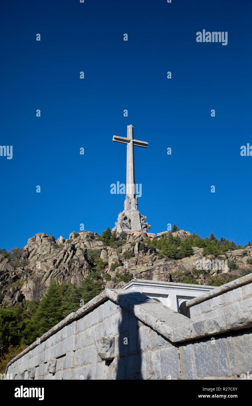 The Valley of the Fallen (Valle de los Caidos) monument and basilica in the Sierra de Guadarrama, near Madrid Spain. Stock Photo