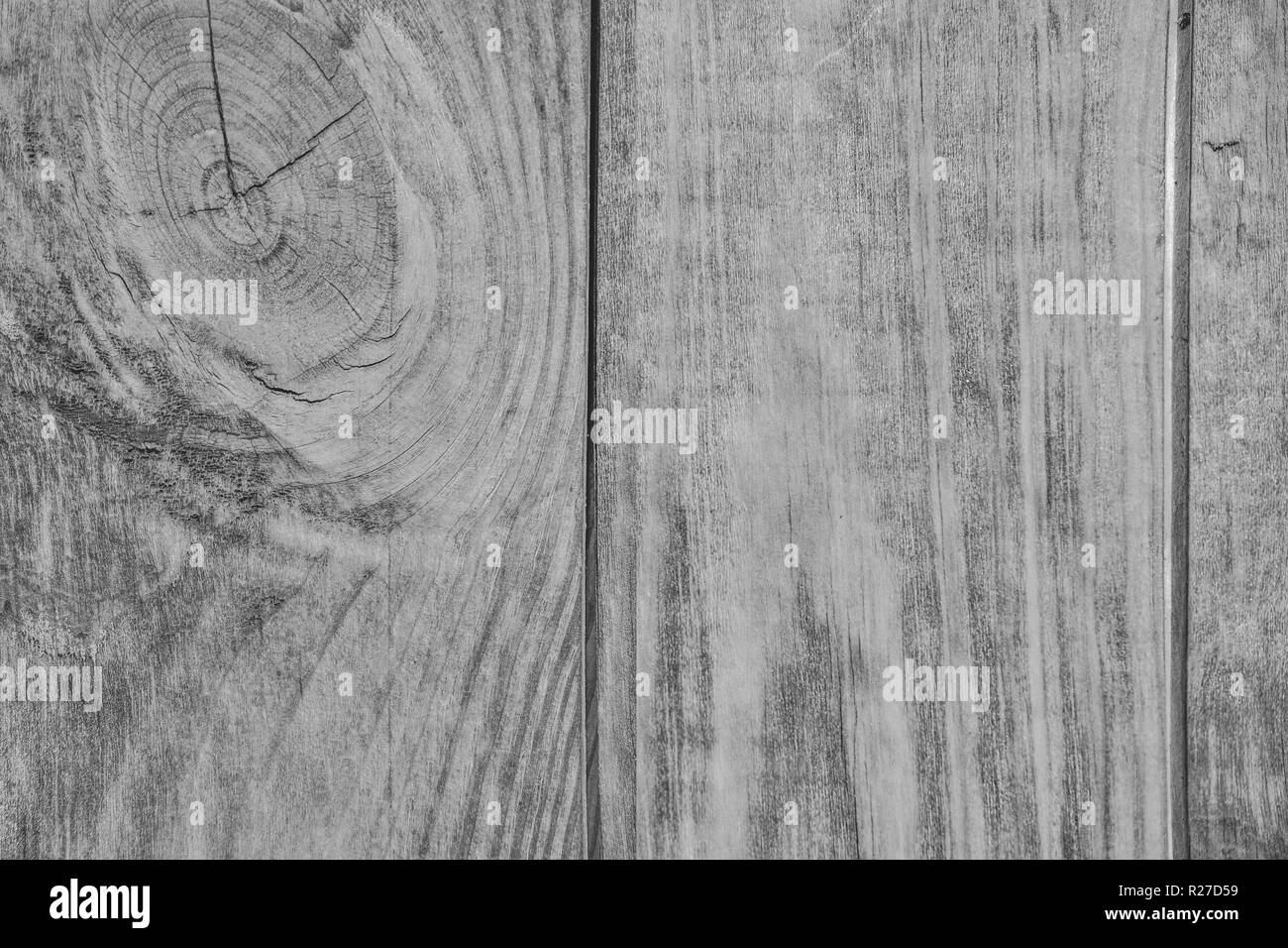 Vintage white wooden texture of planks with knot - natural pattern of coniferous timber. Grunge wood background close up for design in country style - Stock Image
