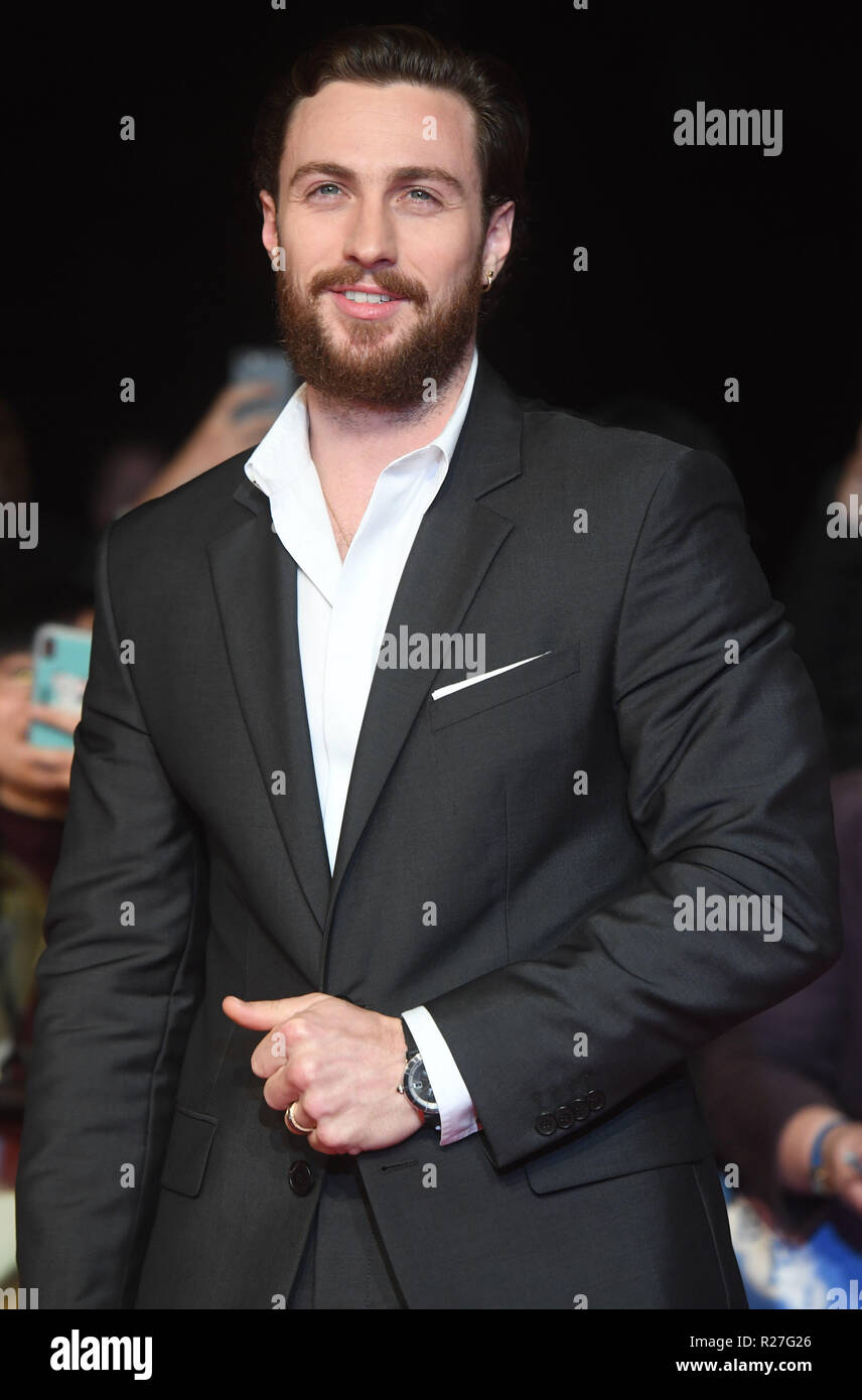 62nd London Film Festival - The Outllaw King - Premiere  Featuring: Aaron Taylor- Johnson Where: London, United Kingdom When: 17 Oct 2018 Credit: WENN.com Stock Photo