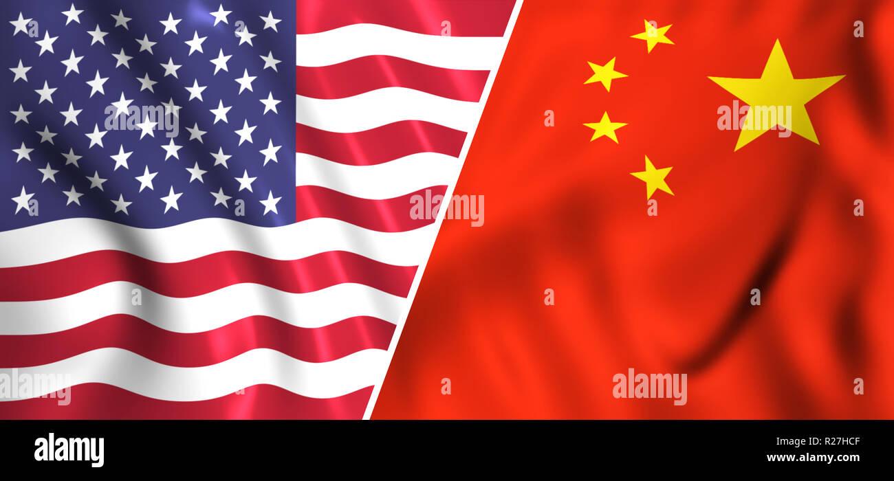 Usa flag vs China flag tradewar - Stock Image