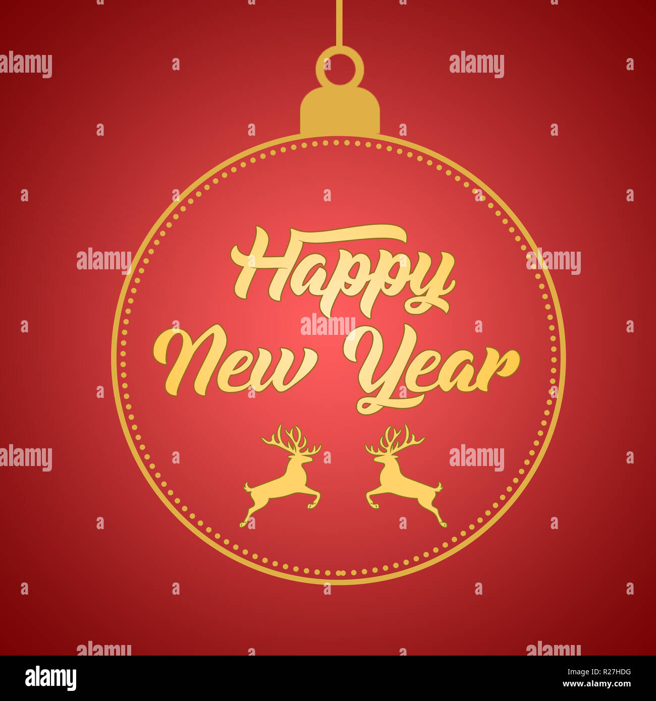 Happy New Year Greeting Card Design Template Layout On Red Gradient Background With Deer Text With Hand Drawing In The Ball Stock Photo Alamy