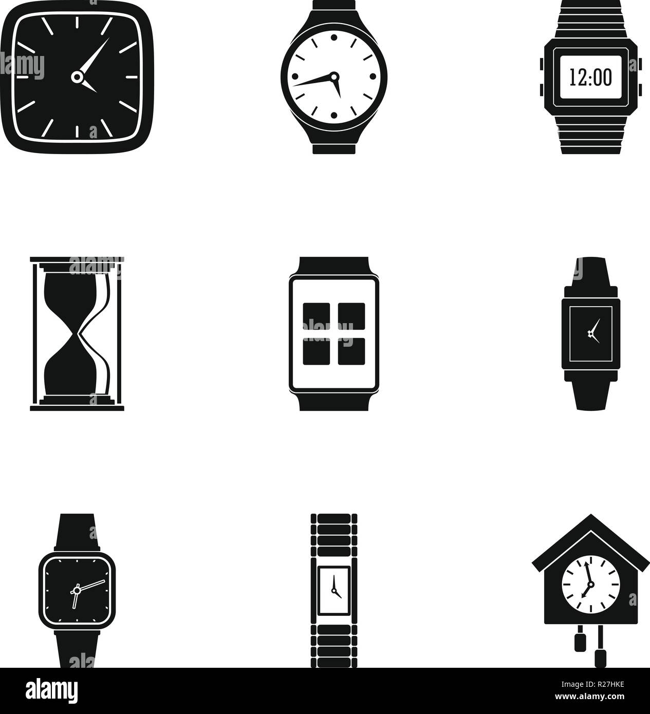 Timepiece icons set. Simple set of 9 timepiece vector icons for web isolated on white background - Stock Image