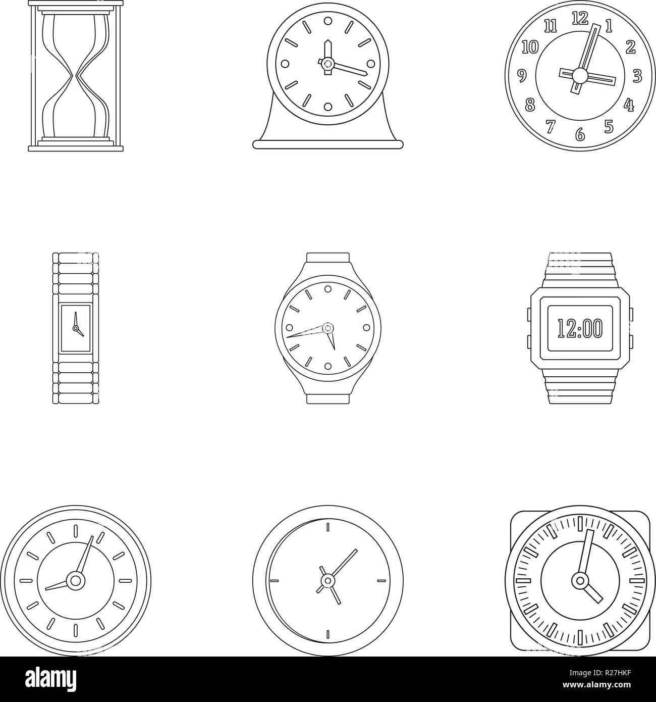 Timekeeper icons set. Outline set of 9 timekeeper vector icons for web isolated on white background - Stock Image