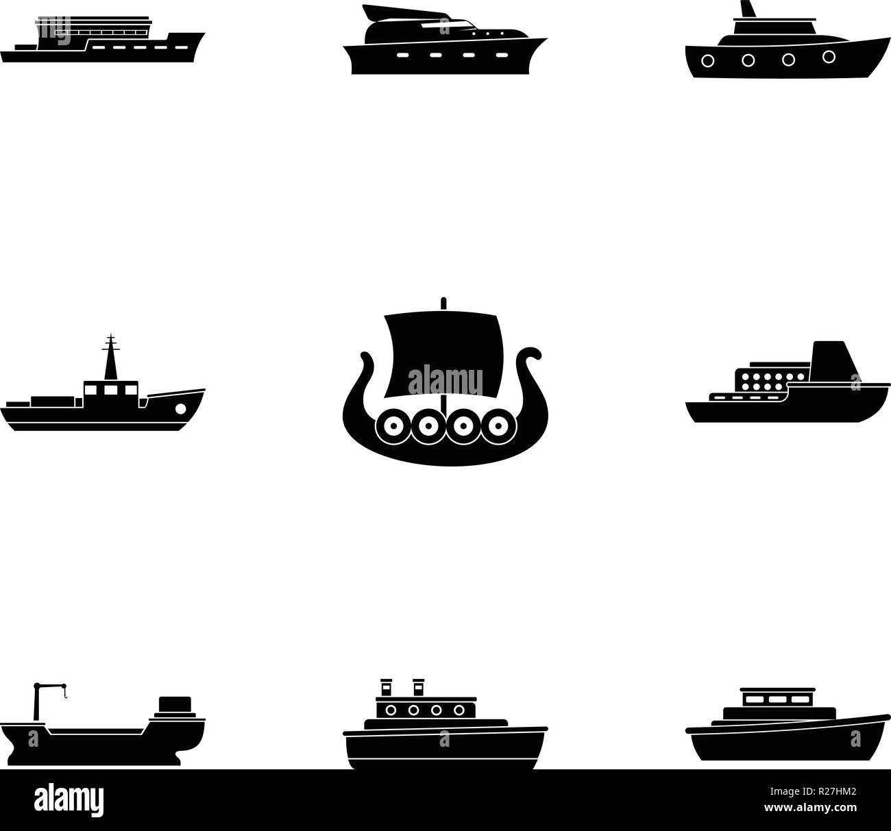 Seafaring icons set. Simple set of 9 seafaring vector icons for web isolated on white background - Stock Image