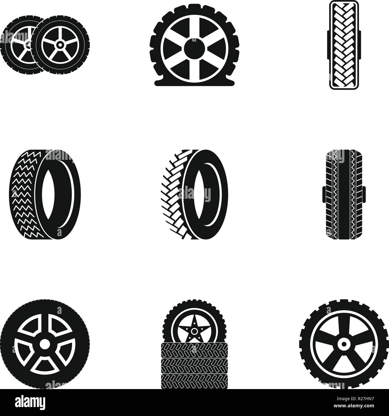 5a77f72c3b64be Car wheel icons set. Simple set of 9 car wheel vector icons for web  isolated on white background