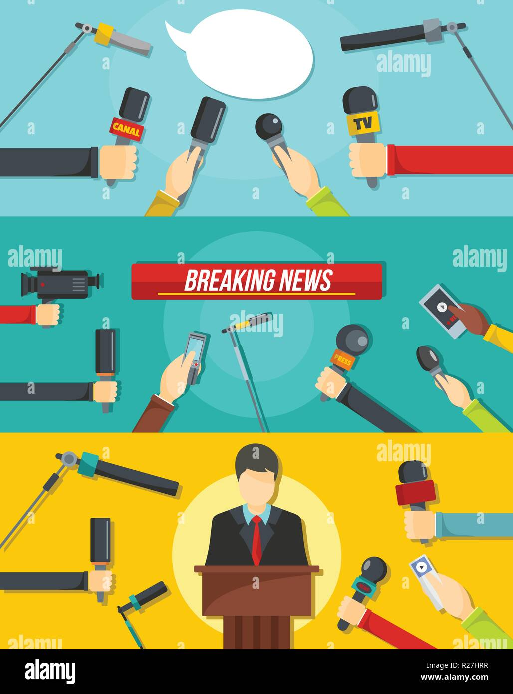 Journalism news microphones tape recorder banner concept set. Flat illustration of 3 journalism news microphones tape recorder vector banner horizontal concepts for web - Stock Image