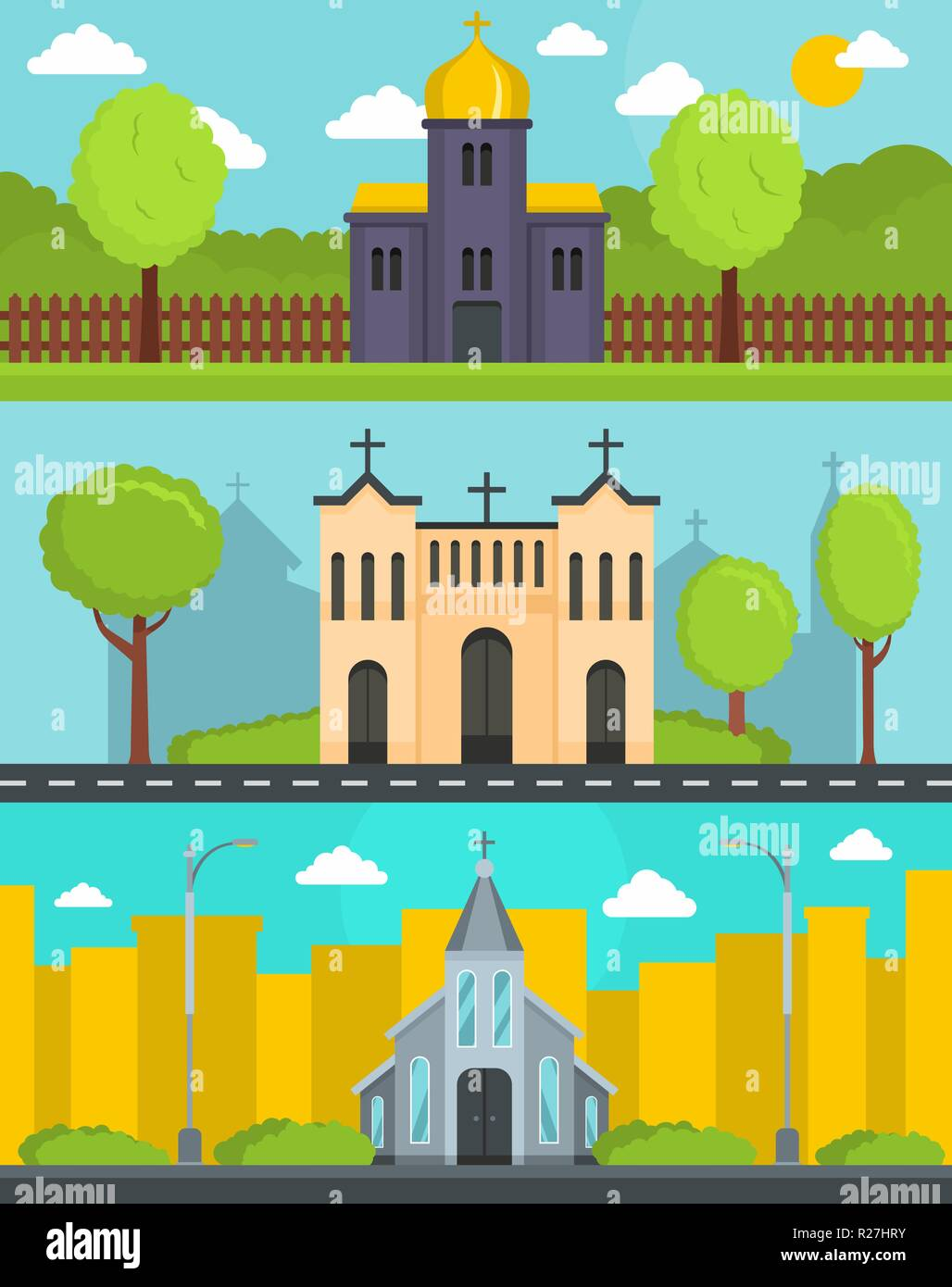 Church building banner concept set. Flat illustration of 3 church building world vector banner horizontal concepts for web Stock Vector