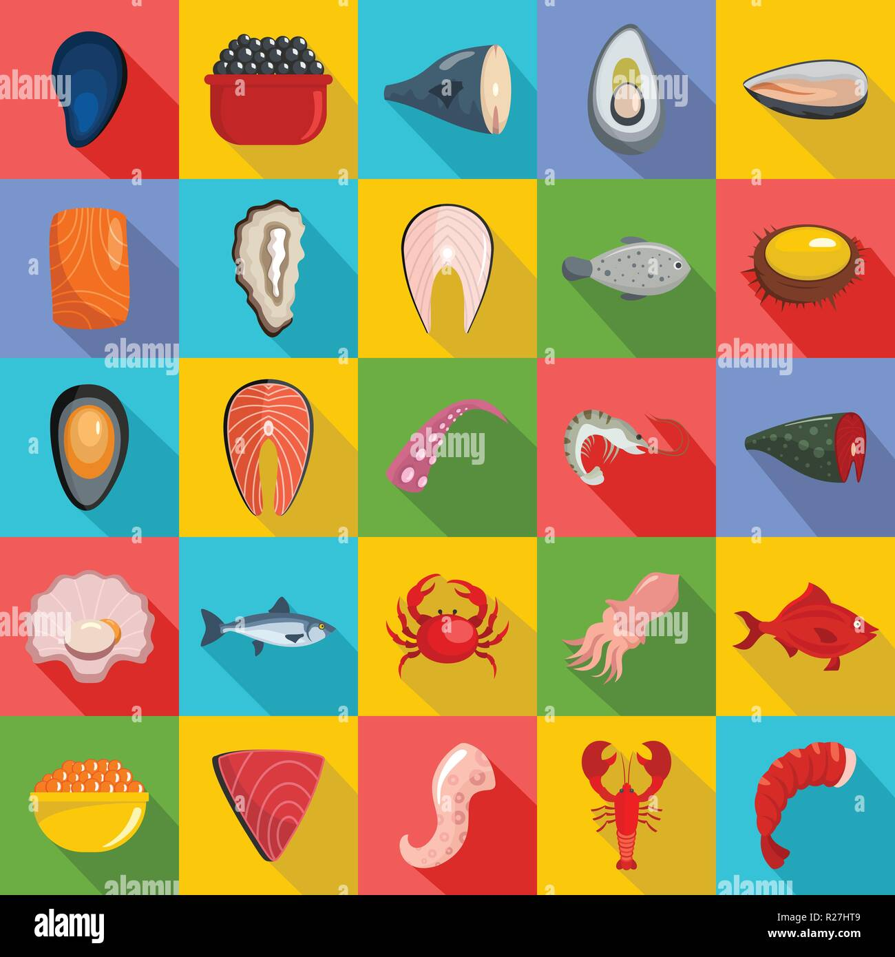 Seafood fresh fish food icons set. Flat illustration of 25 seafood fresh fish food vector icons for web - Stock Vector