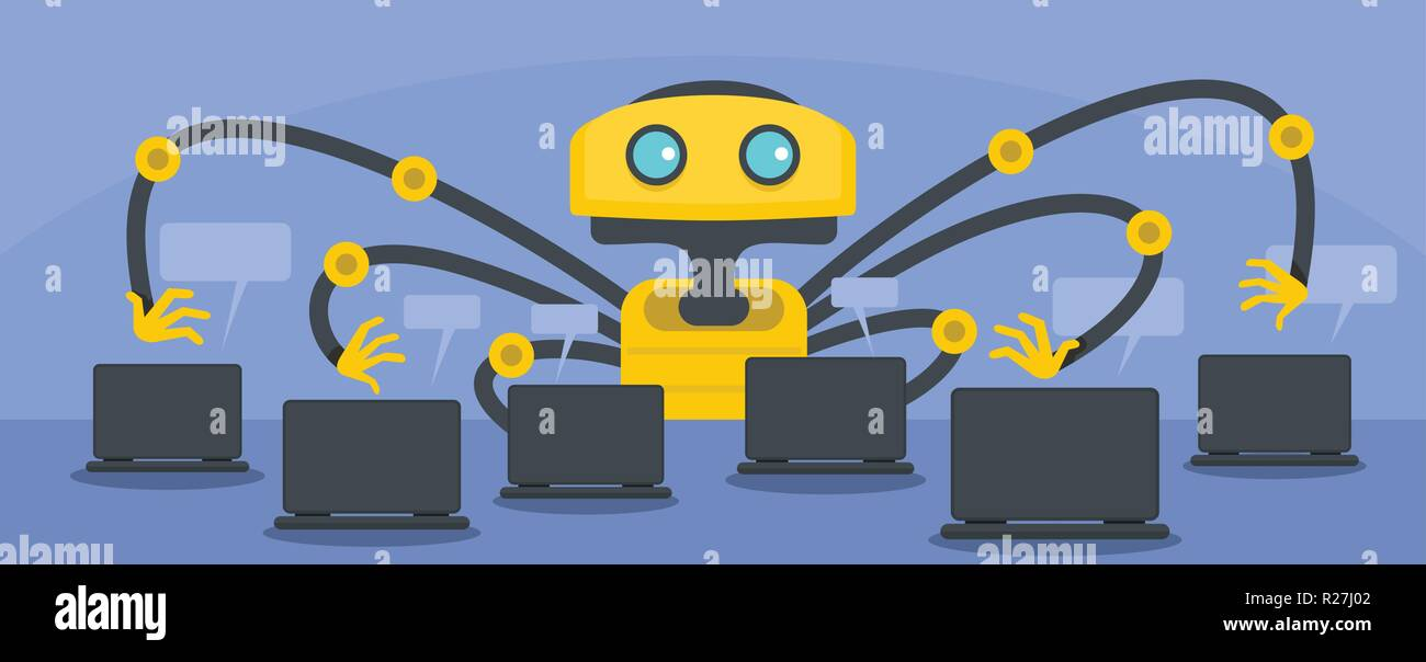 Artificial robot banner  Flat illustration of artificial