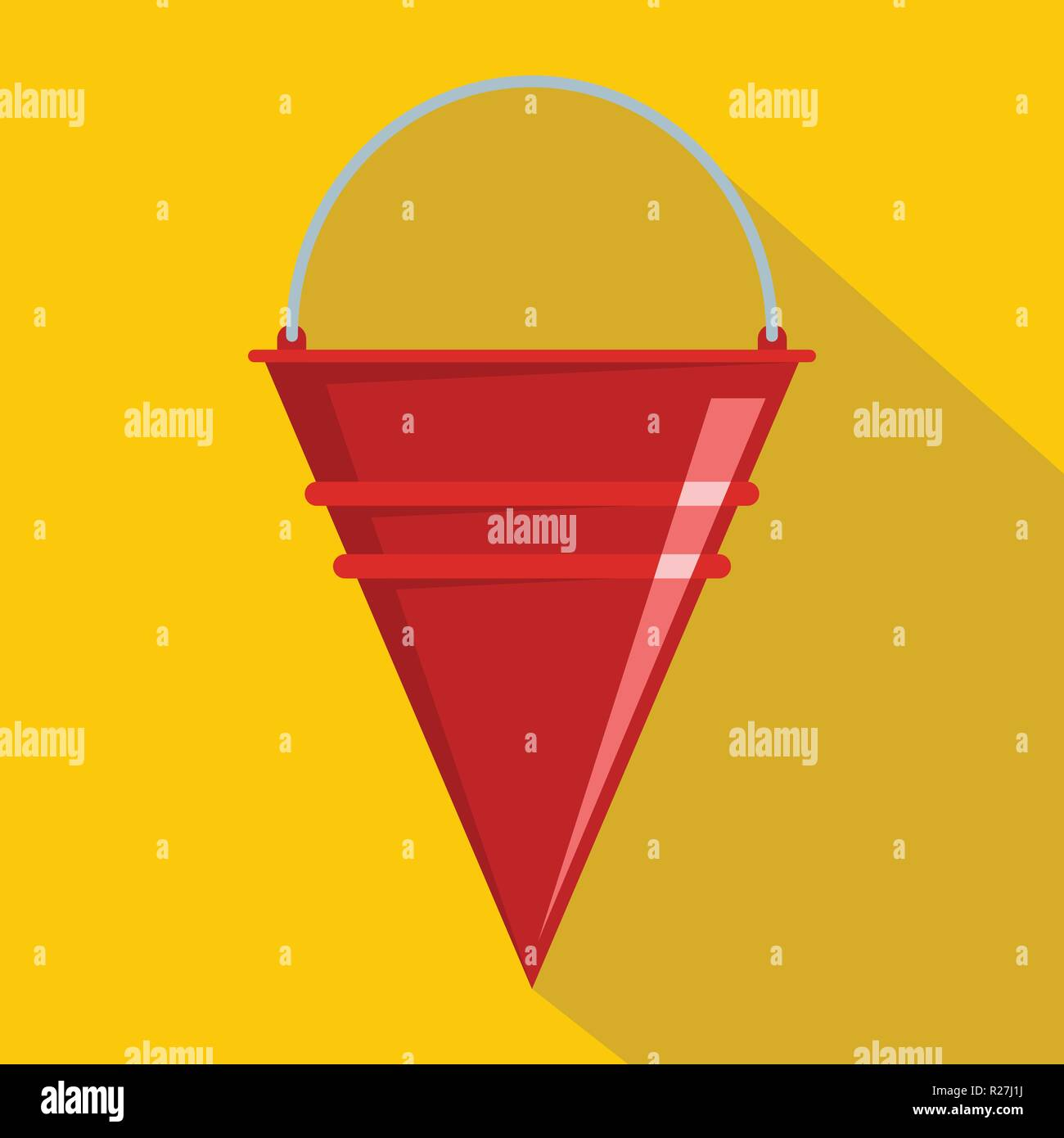 Fire bucket icon. Flat illustration of fire bucket vector icon for web - Stock Image