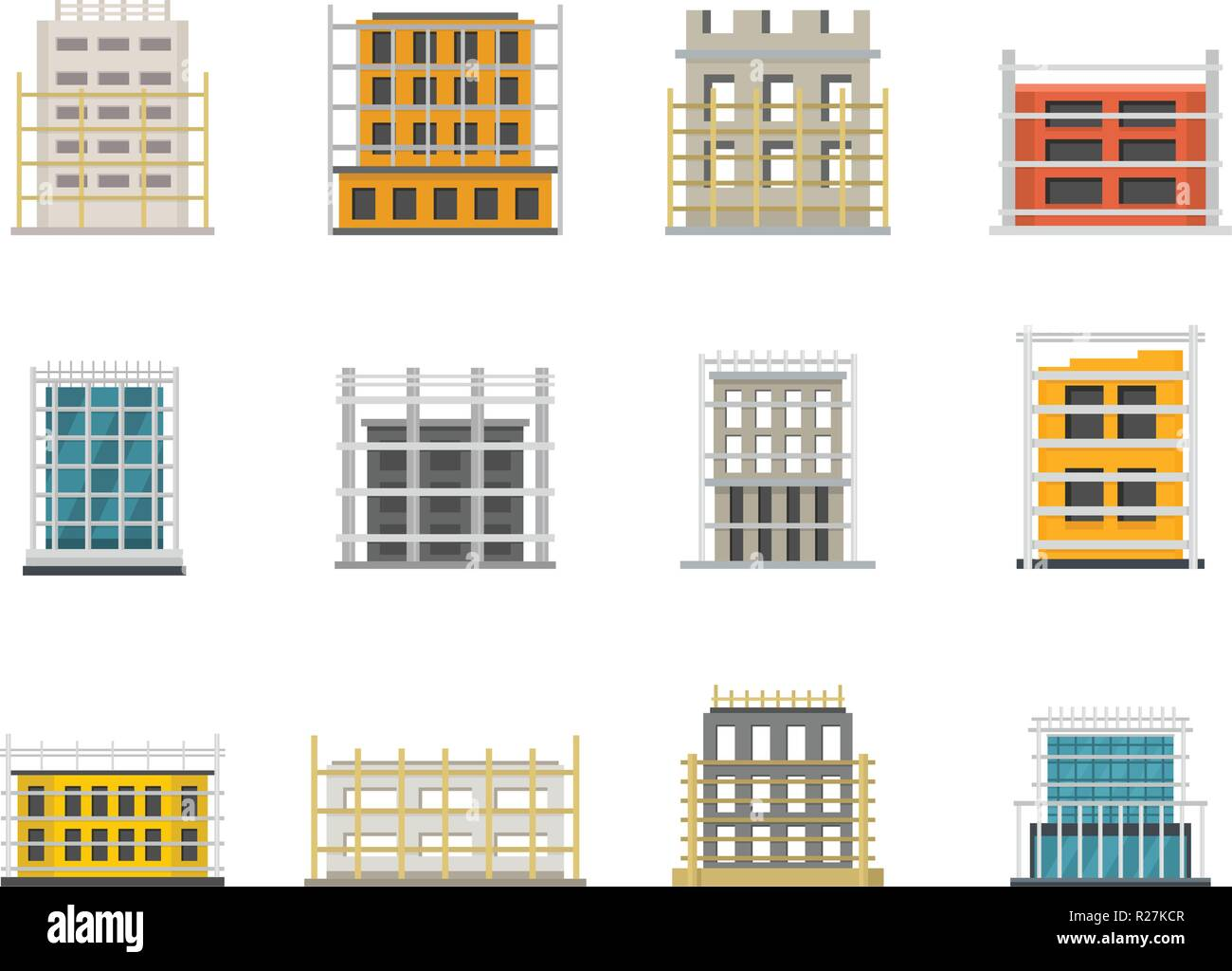 Scaffolding construction icons set. Flat illustration of 12 scaffolding construction icons for web - Stock Vector