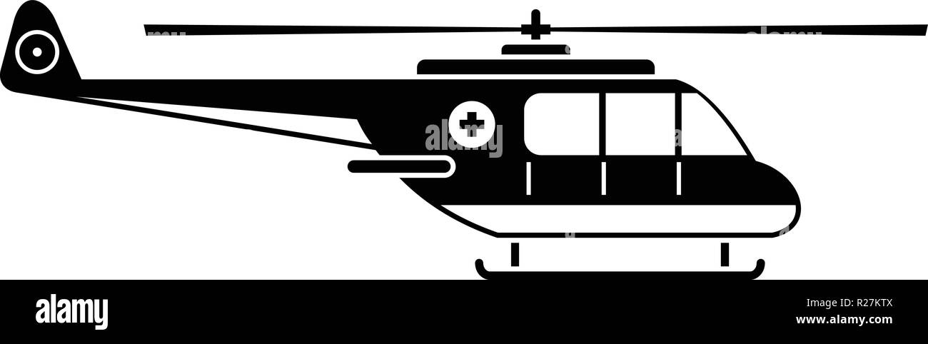 Helicopter icon. Simple illustration of helicopter vector icon for web - Stock Image