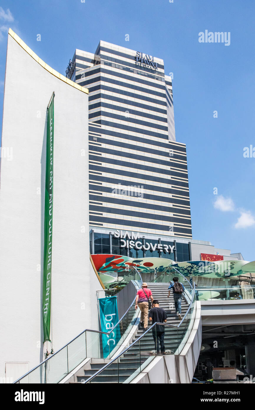 Bangkok, Thailand - 4th October 2018: Stairs leading to the Siam Discovery shopping mall. The mall is one of many in the Siam square area. - Stock Image