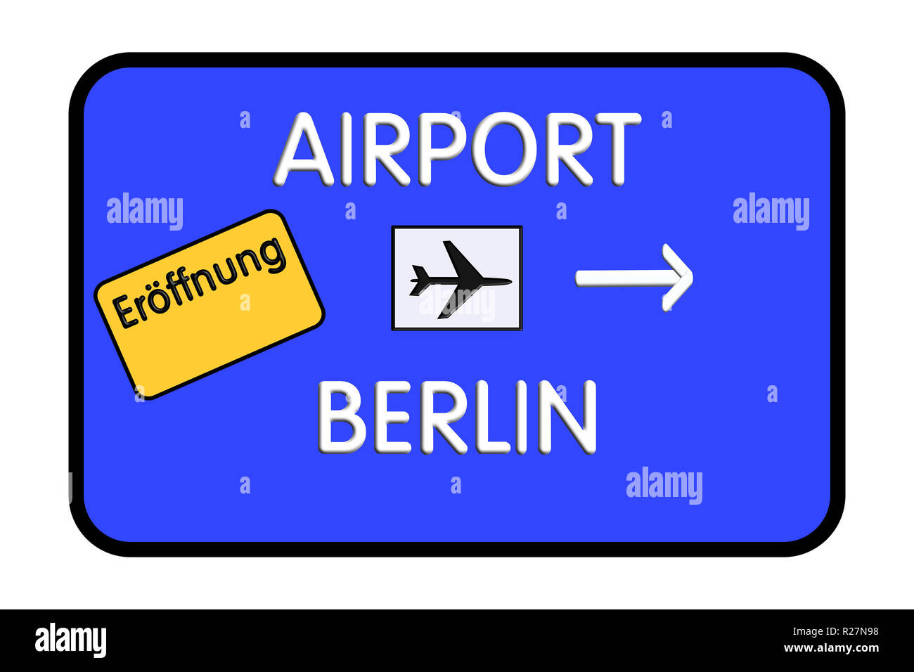 Germany Airport Highway Road Sign 3D Illustration - Stock Image