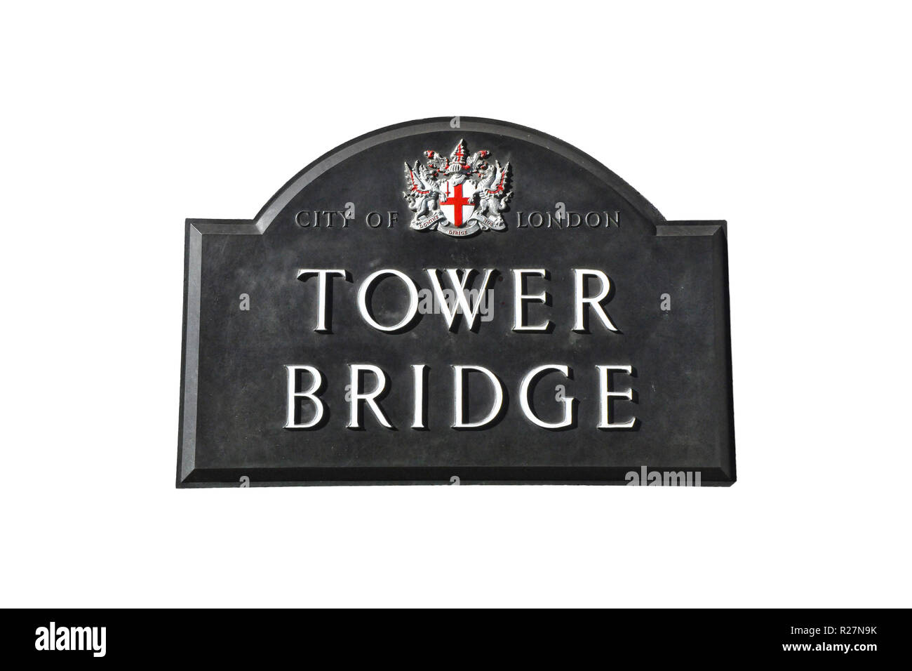 Tower Bridge sign in London against white background - Stock Image